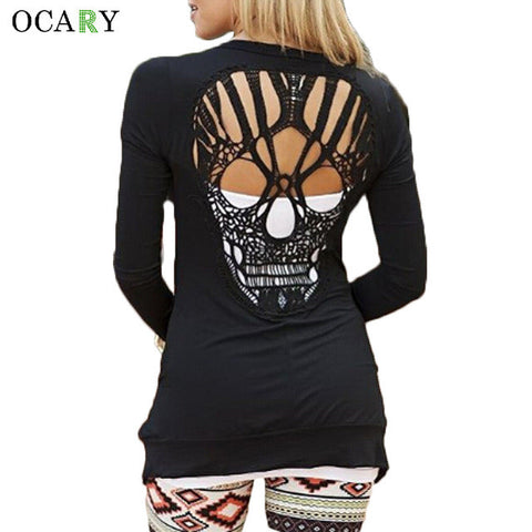 Skull Hollow Out Sweaters Wanita Long Sleeve Cardigans