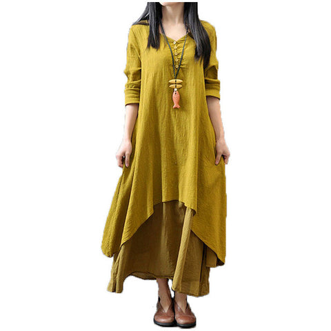Loose Long Sleeve Dress Cotton Linen Solid Long Maxi Dress