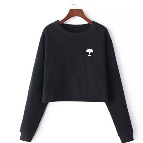 Aliens Printing Hoodies Sweatshirts Harajuku Crew Neck Loose Short Fleece Jumper Sweater - Cantik Menawan