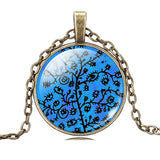 Kalung Life Tree Pendant Necklace Art Glass Cabochon Bronze Chain Vintage Choker - Cantik Menawan