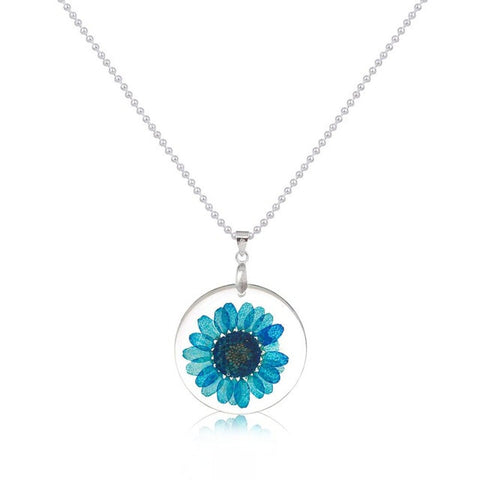 Kalung Handmade Boho Transparent Resin Dried Flower Daisy Ball Chain Silver Plated - Cantik Menawan