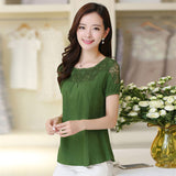 Casual Blouse Wanita Hollow Out Lace linen Cotton Shirt Patchwork