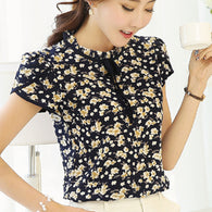 Floral Print Chiffon Blouse Wanita Ruffled Collar Bow Neck Shirt Petal Short Sleeve