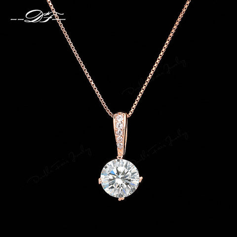 Kalung Style Cubic Zirconia Chain Necklaces & Pendants Rose Gold Color - Cantik Menawan