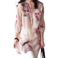 Blouse Wanita Casual Floral Print Long Tops Shirts Plus