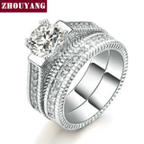 Cincin Cantik 2 Rounds Bijoux Fashion Wedding Ring Set Cubic Zirconia - Cantik Menawan