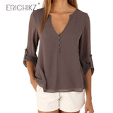 ERICHIKZ New Autumn Fashion Women deep v neck button long sleeve ladies tops chiffon shirts solid elegant Top casual blouse - Cantik Menawan