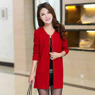Sweater Wanita Lembut dan Nyaman Knitted V-Neck Long Cardigan Female Jacket