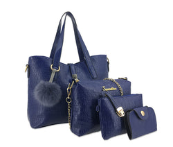 Tas Wanita Alligator Asli Fur PomPom Ball Handbag Shoulder Messenger 4 Pcs Komplet
