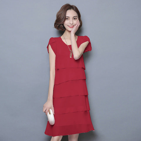 Dress Wanita Cantik - Chiffon Loose Cocktail Tunic Party Elegant Ruffles - Cantik Menawan