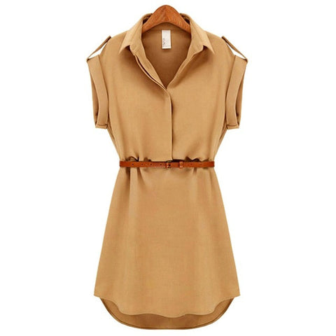 Fashion Dress Wanita Lengan Pendek Stretch Chiffon Casual OL Belt Mini Vestidos - Cantik Menawan