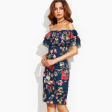 Dress Wanita Short Sleeve - Floral Print Off The Shoulder Ruffle Sheath Dress - Cantik Menawan