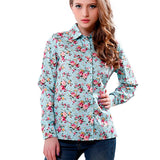 Cotton Blouse Wanita Long-sleeve Printed Flowers Shirts Casual Slim Floral - Cantik Menawan