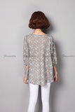 Blouse Wanita Casual Blouse Loose Long Print Tunic Shirt Floral Cotton Linen - Cantik Menawan