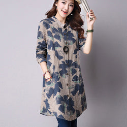 Floral Print Cotton Linen Blouses Casual Long Sleeve Shirt With Pockets - Cantik Menawan