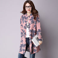 Floral Print Cotton Linen Blouses Casual Long Sleeve Shirt With Pockets