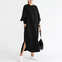 Dress Wanita Lengan Panjang Model Terbaru Striped Vintage Batwing O Neck Loose Split Maxi - Cantik Menawan