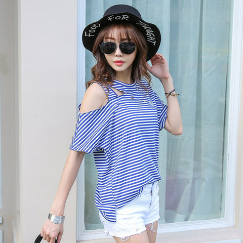 T-Shirt Wanita Short Sleeve Hollow Out Striped Cotton Loose Top Tee