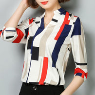 Blouse Wanita 3/4 Lengan Panjang Print Plaid Fashion Office
