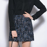 Rok Mini Wanita Cantik - Retro Sequin Tweed Wool Skirt High Waist Slim Pencil - Cantik Menawan