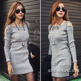 Dress Wanita Cantik - Collar Knitted Long Sleeve Bodycon Stretch - Cantik Menawan