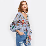 Blouse Wanita Cantik - Gathered Sleeve Mixed Print Puff Sleeve V Neck Striped Floral - Cantik Menawan