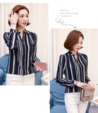 Atasan Wanita Cantik - New Chiffon Print Striped Dot Slit Style Plus Size Office Long Sleeve Blouse - Cantik Menawan