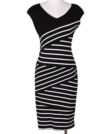 Dress Cantik - Striped V Neck Bodycon Office Work Dress - Cantik Menawan