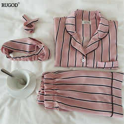 Pakaian Tidur Wanita - Turn-down Collar 2 Two Piece Set Shirt+Shorts Striped Casual Pajama Set - Cantik Menawan