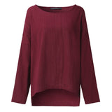 Blouse Wanita Retro O Neck Long Sleeve Split Baggy Cotton Linen Casual Loose - Cantik Menawan