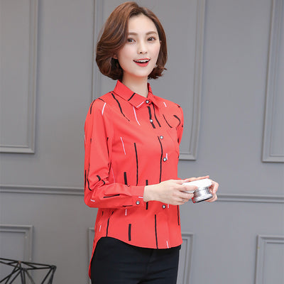 Blouse Wanita Cantik - Striped Print Shirt Chiffon Work Causal Top - Cantik Menawan