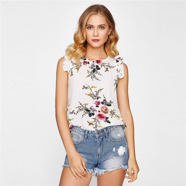 Blouse Wanita Model Terbaru Armhole Button Closure Back Shell Round Neck  Sleeveless Floral - Cantik Menawan f1a0a9df53