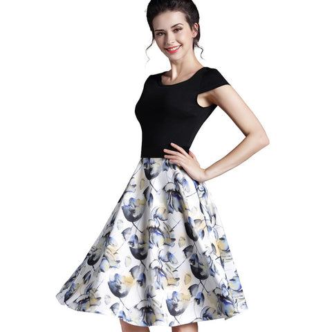 Summer Dress Wanita Cantik - Floral Casual Stylish Elegant Print O Neck Sleeveless