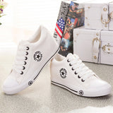 Sepatu Wanita Cantik - Sneakers Wedges Canvas Shoes Women Casual 5 cm Height - Cantik Menawan