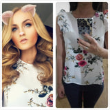Blouse Wanita Model Terbaru Armhole Button Closure Back Shell Round Neck Sleeveless Floral - Cantik Menawan