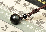 Kalung Wanita Natural Obsidian Rainbow Eye Transfer Good Luck Bead Pendant Necklace Rope Chain - Cantik Menawan