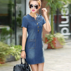 Dress Wanita Terbaru Vintage Turn-down Collar Short Sleeve Pockets Jeans - Cantik Menawan