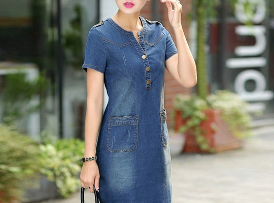 Dress Wanita Terbaru Denin Vintage Turn-down Collar Short Sleeve Pockets Jeans - Cantik Menawan