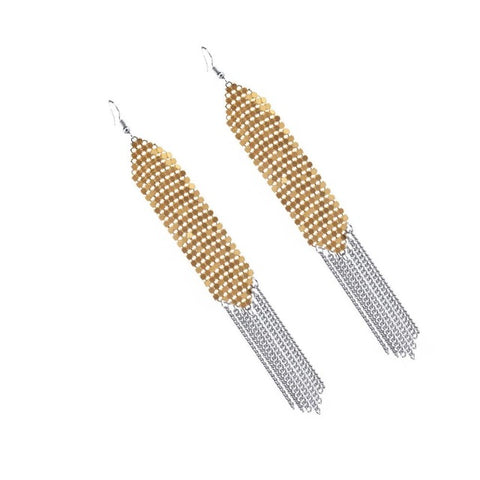 Anting Wanita Cantik Trendy - Sequins Drop Dangle Elegant Fine Chain Tassel Earring - Cantik Menawan