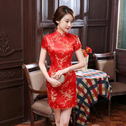 Dress Wanita Traditional Cheongsam Model Cina Sutra Satin Mini Seksi - Cantik Menawan
