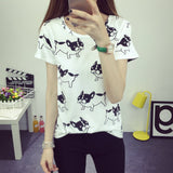 Top Blouse Cantik - Animal Printed T-Shirt O-neck Polka Short Sleeve - Cantik Menawan