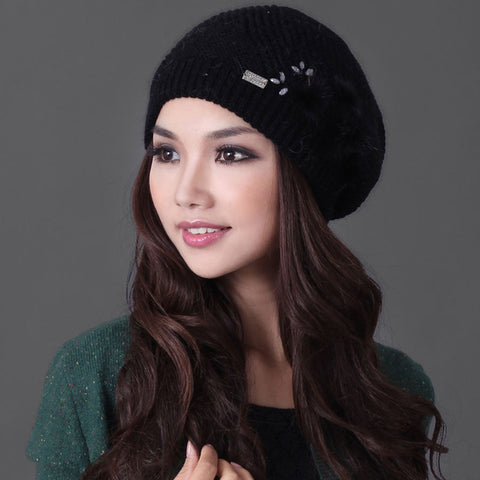 Topi Rajut Wanita Cantik -  Double Layer Rabbit Hair Knitted Hat Elegant Casual Wool - Cantik Menawan