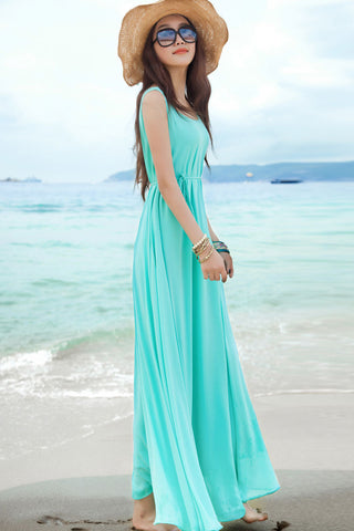 Dress Cantik - Women Ladies Summer Beach Loose Chiffon Floor Length Bohemian Sexy Maxi Blue - Cantik Menawan