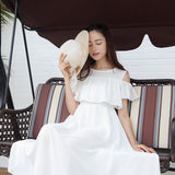 Baju Atasan Wanita Dress Panjang Chiffon Boho Beach Slim Off Shoulder High Waist Dress - Cantik Menawan