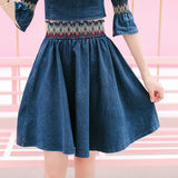Set Denim Kasual Wanita Cantik -  Off Shoulder Crop Tops Half Sleeve Elastic Waist Skirts - Cantik Menawan