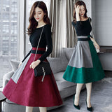 Dress Korea Cantik & Trendy - Long Sleeved 2 Sets Female Dress - Cantik Menawan