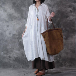 Dress Wanita Panjang Longgar Cotton Linen  Solid Vintage Model Gaun Pesta dan Kasual - Cantik Menawan
