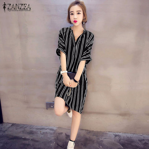 Dress Mini Wanita Striped V Neck Short Sleeve Buttons Casual Longgar - Cantik Menawan