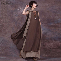 Dress Wanita Boho - Patchwork Vintage Casual Loose Long Maxi Sleeveless Dress - Cantik Menawan