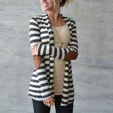 Baju Cardigan Outerwear Wanita Lengan Panjang Striped Printed Casual Elbow Patchwork Knitted Sweater - Cantik Menawan